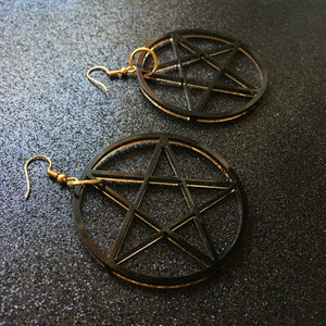PREORDER* Smoky Black Pentacle Earrings