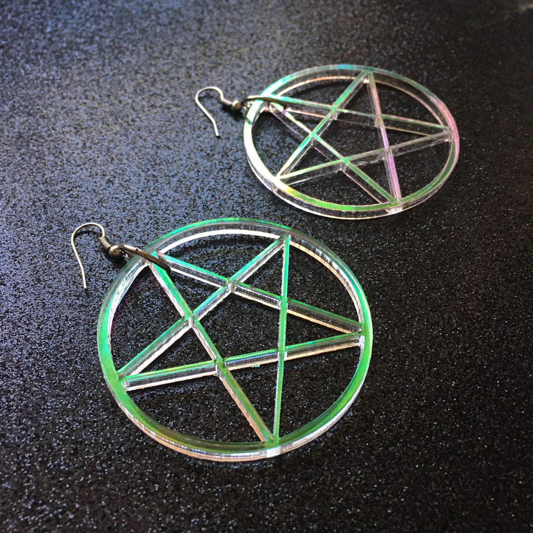 Iridescent Pentacle Earrings