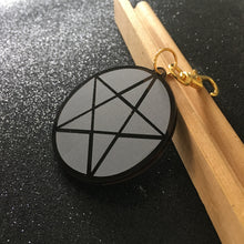 Load image into Gallery viewer, Smoky Black Acrylic Pentagram Keycharm / Bag Charm