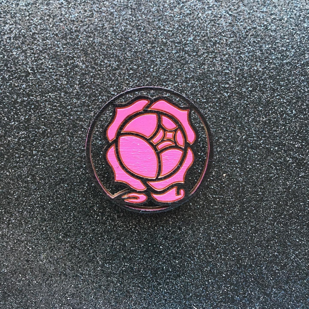 Rose Crest Hand Painted Pin