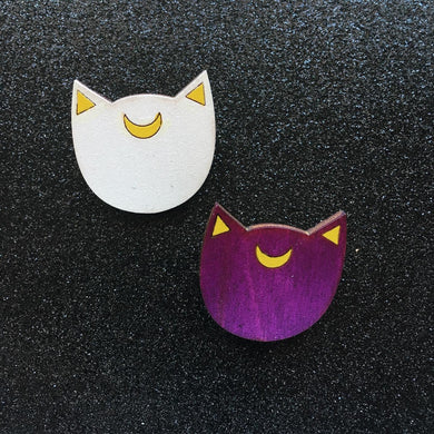 Artemis & Luna Kitty Heads Hand Painted Pins