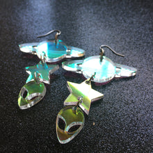 Load image into Gallery viewer, Iridescent Space Age Tiered Earrings