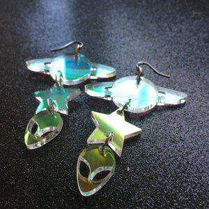 Iridescent Space Age Tiered Earrings