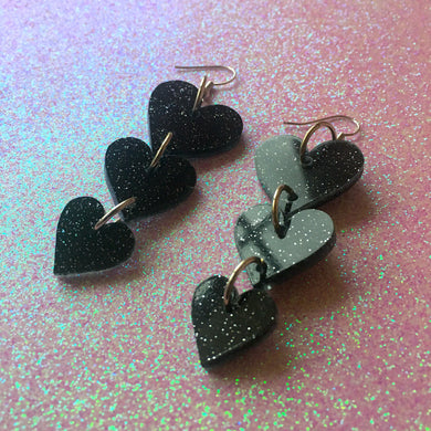 Starlight Hearts Tiered Earrings