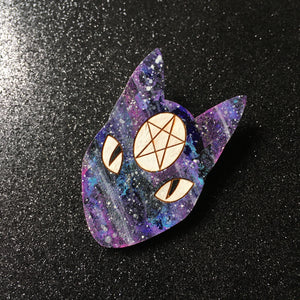 Pentacle Galaxy Cats - Handpainted Wooden Pin