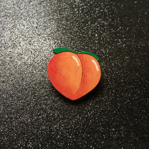 Ooooo Such a Juicy Peach - Handpainted Wooden Pin