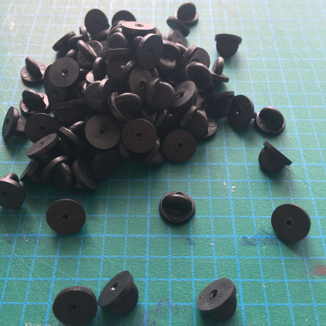 Black Rubber Pin Backs (1 Pair)