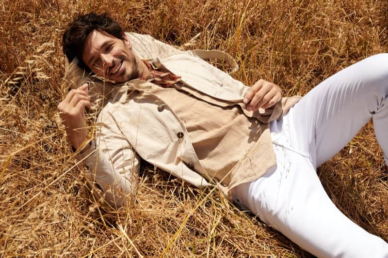 Male Model Pose - Guy Lays on Grass Field - Best Poses for Men