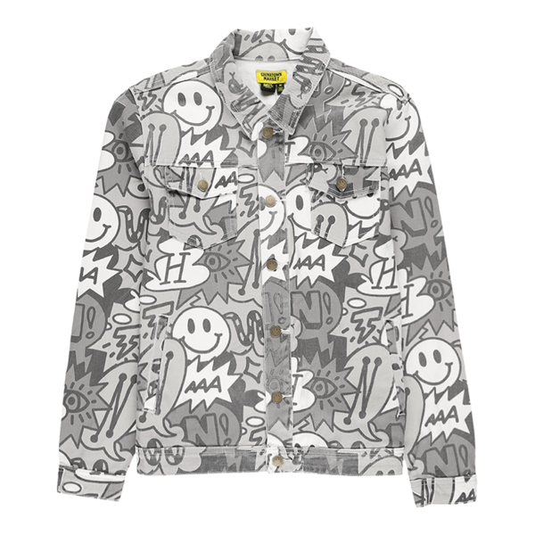 SMILEY SPEECH BUBBLE DENIM JACKET