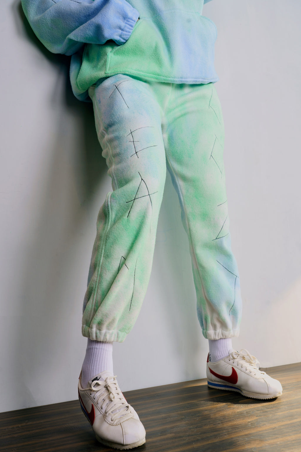Blue-Green Fur Jogger
