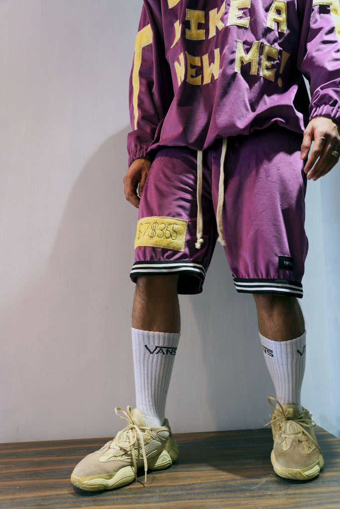 Purple Velour Shorts