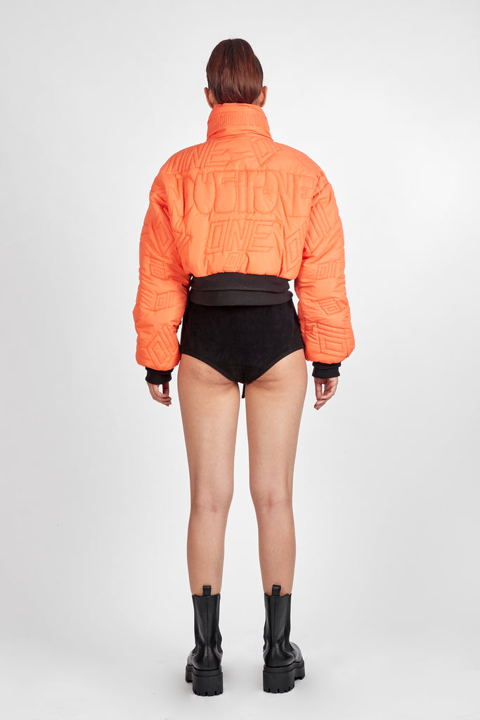 01 Signature Cropped Puffer - Orange