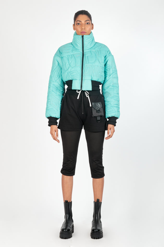 01 Signature Cropped Puffer - Turquoise
