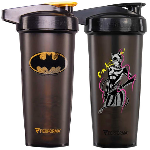 2 Pack Bundle, ACTIV Shaker Cups, 28oz, Batman & Catwoman, Performa USA