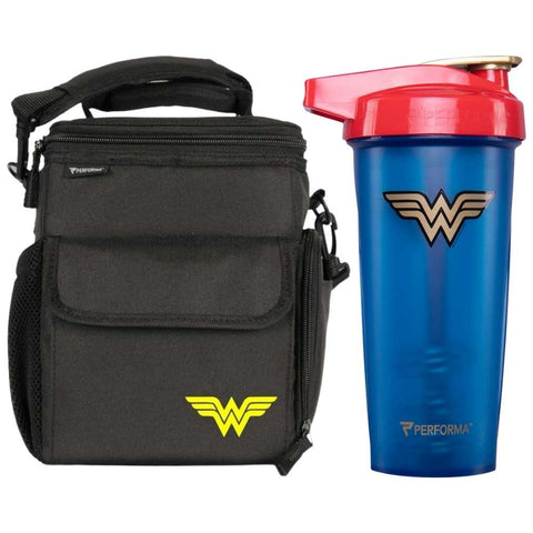 2 Pack, 3 Meal Cooler Bag & 28oz ACTIV Shaker Cup, Wonder Woman, Performa USA