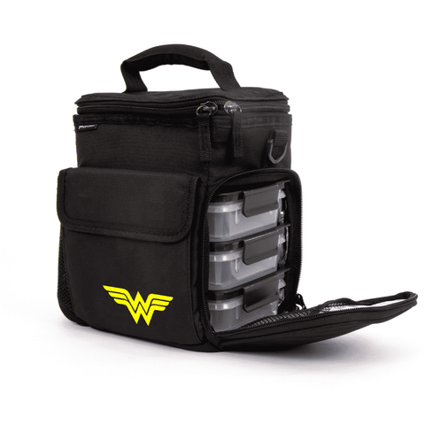 3 Meal Cooler Bag, Wonder Woman, Side view with open container compartment, Performa