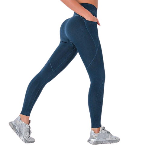 Legging Push Up<br> Lycra Bleu - FitnessBoutique.co