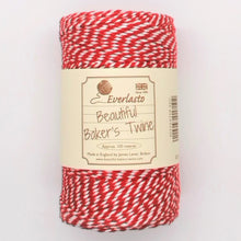 Load image into Gallery viewer, Beautiful Baker's Cotton Twine - Red & White 100M