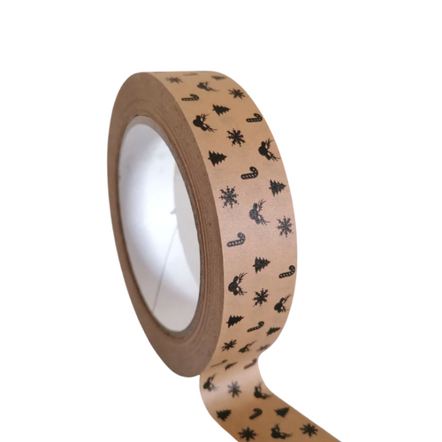 Christmas Kraft Paper Tape - 25mm x 50M