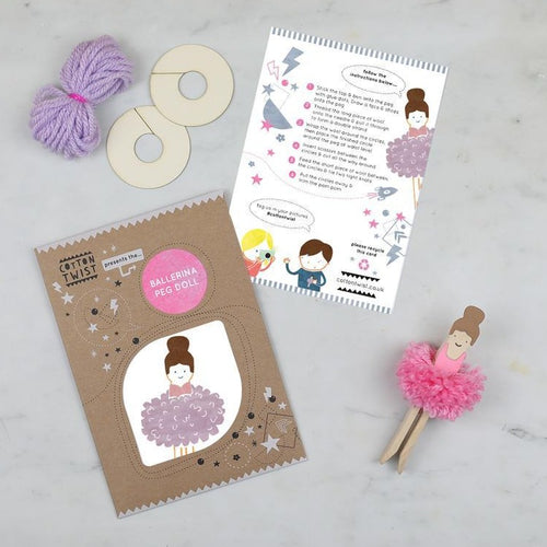 Make Your Own Pom Pom Ballerina Peg Doll