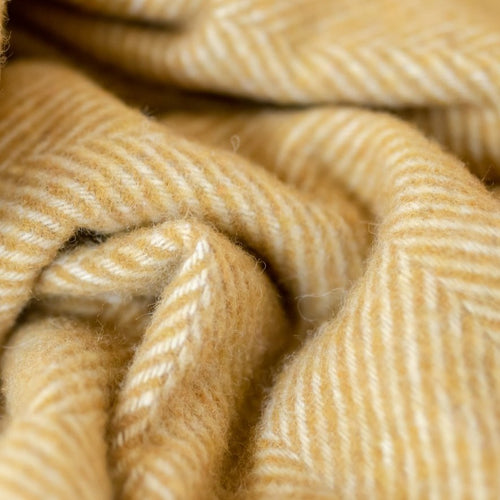 Recycled Wool Blanket - Mustard Herringbone