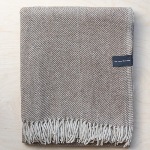 Recycled Wool King Size Blanket - Natural Herringbone