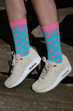 Load image into Gallery viewer, Blue & Pink Polka Dot Bamboo Socks - Size 4-7