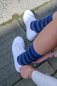Charcoal Grey Striped Bamboo Socks - Size 4-7