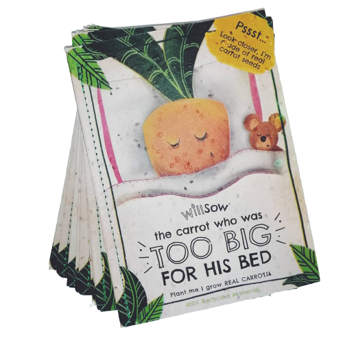 The Carrot Who Was Too Big For His Bed - Plantable Book
