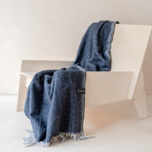 Recycled Wool Knee Blanket - Navy Herringbone