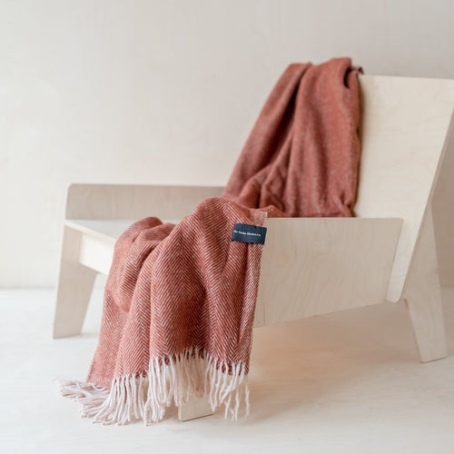 Recycled Wool Knee Blanket - Rust Herringbone