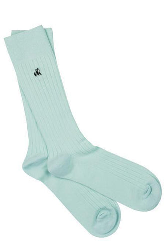 Mint Blue Ribbed Bamboo Socks - Size 7-11