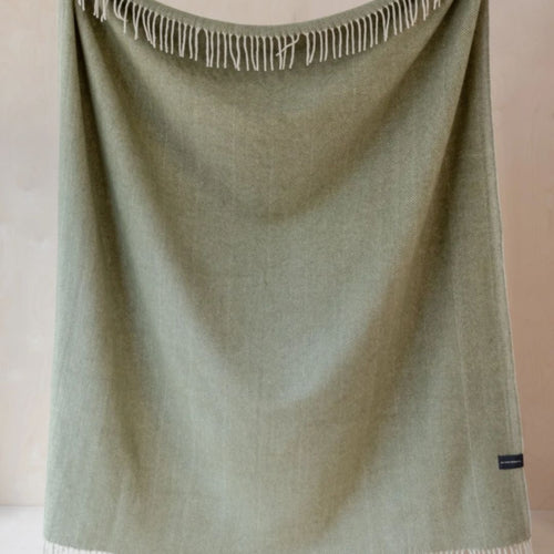 Recycled Wool Blanket - Olive Herringbone