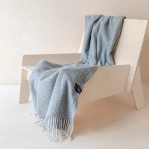 Recycled Wool Knee Blanket - Charcoal Herringbone