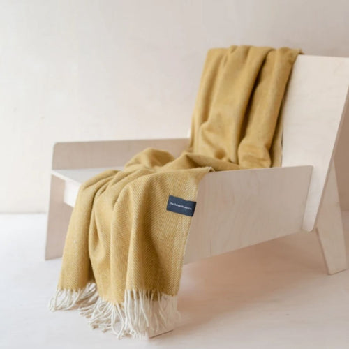 Recycled Wool Knee Blanket - Mustard Herringbone