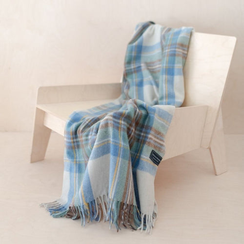Recycled Wool Knee Blanket - Stewart Blue Muted Tartan