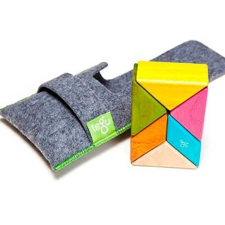 Pocket Pouch Prism Magnetic Wooden Blocks - 6 Pieces - Sunset