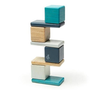 Pocket Pouch Magnetic Wooden Blocks - 8 Pieces - Blues