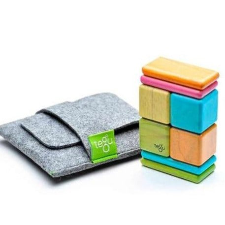 Pocket Pouch Magnetic Wooden Blocks - 8 Pieces - Tints
