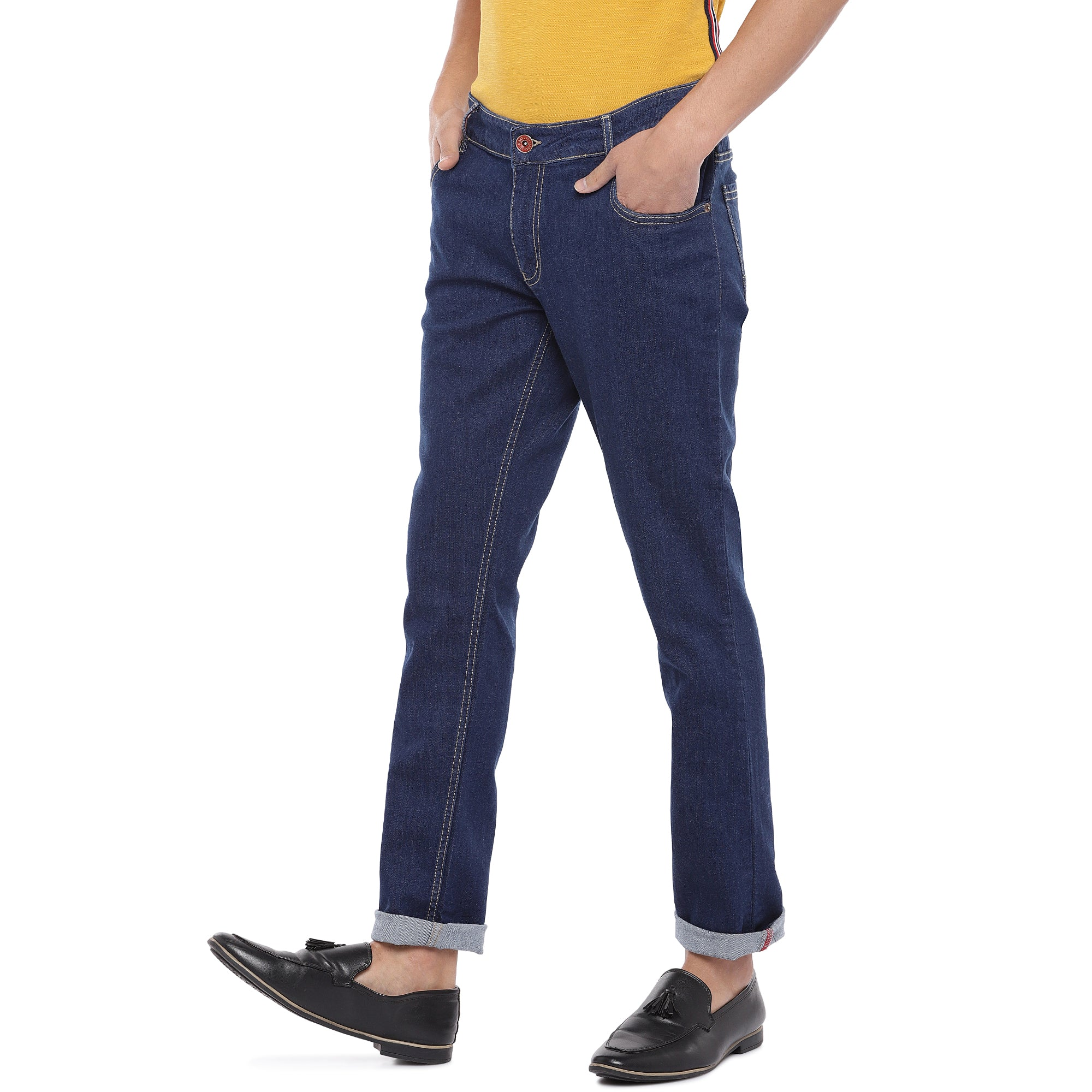 Blue Slim Fit Mid Rise Clean Look Jeans-2