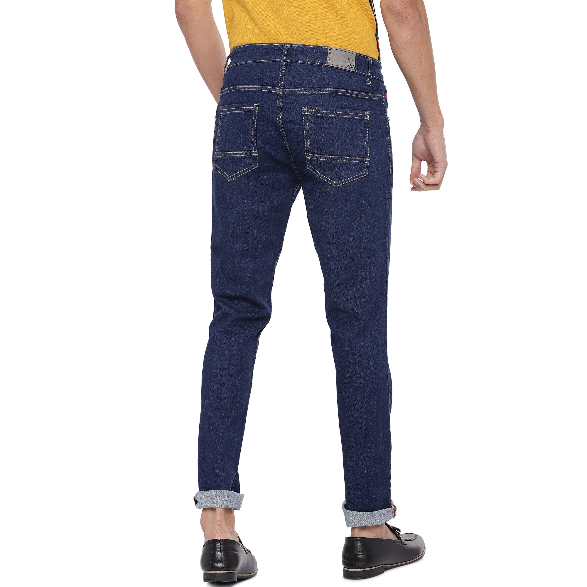 Blue Slim Fit Mid Rise Clean Look Jeans-3