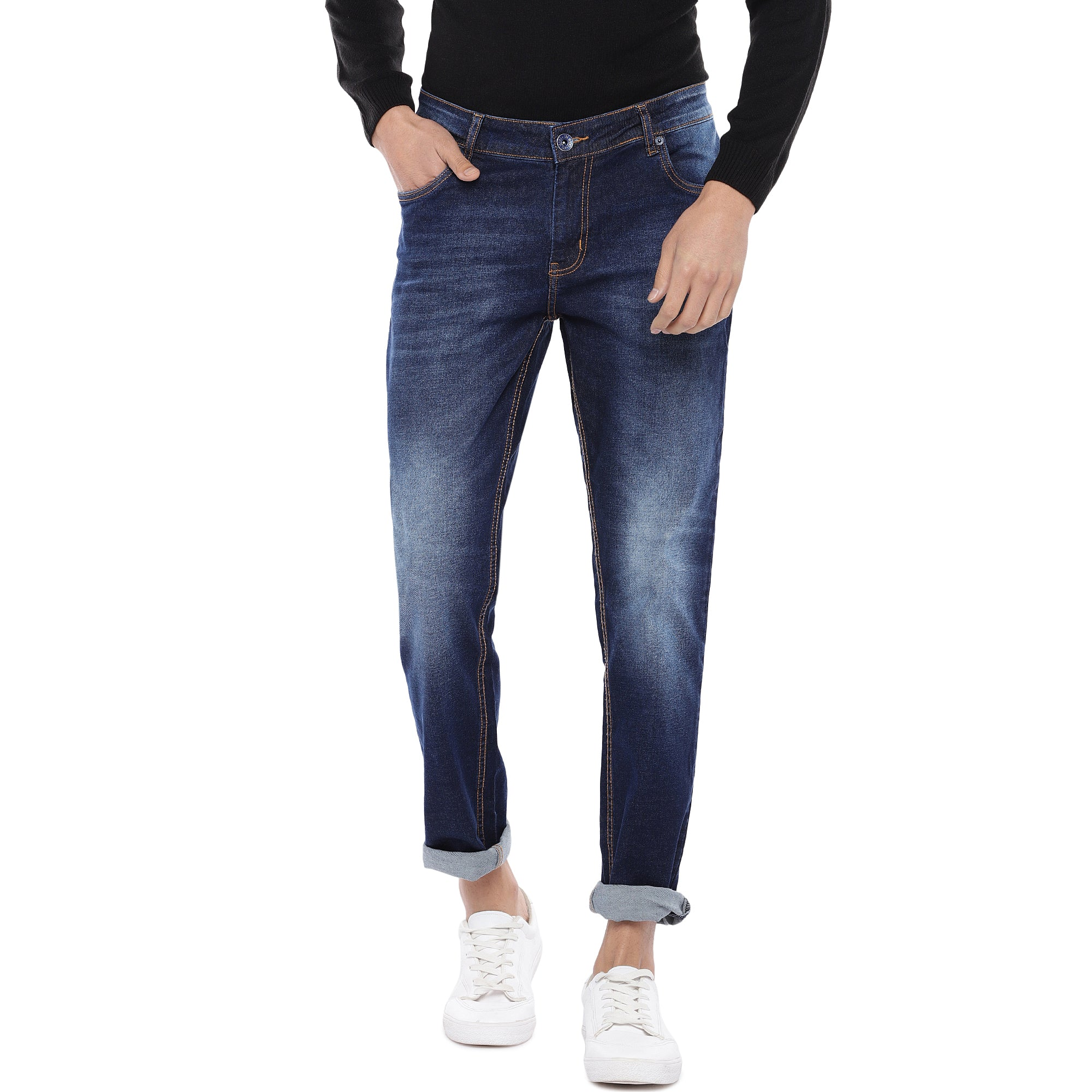 Blue Slim Fit Mid Rise Clean Look Jeans-1