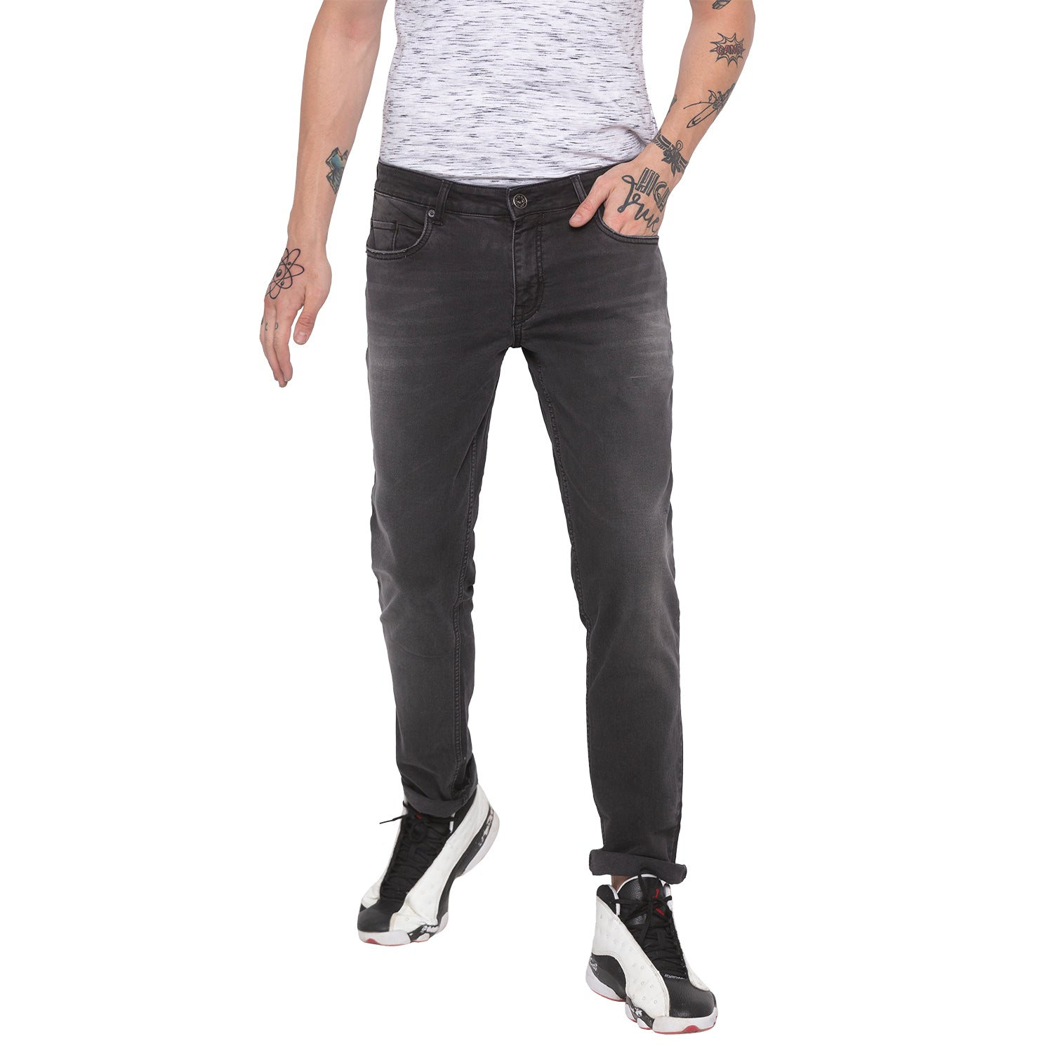 Faded Slim Fit Grey Denims-1