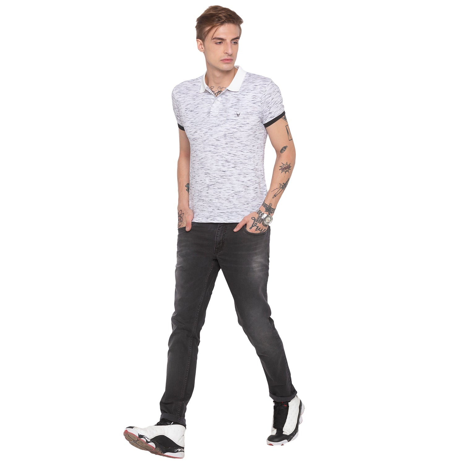 Faded Slim Fit Grey Denims-4