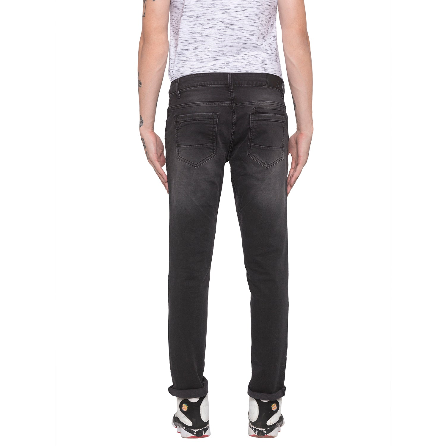 Faded Slim Fit Grey Denims-3