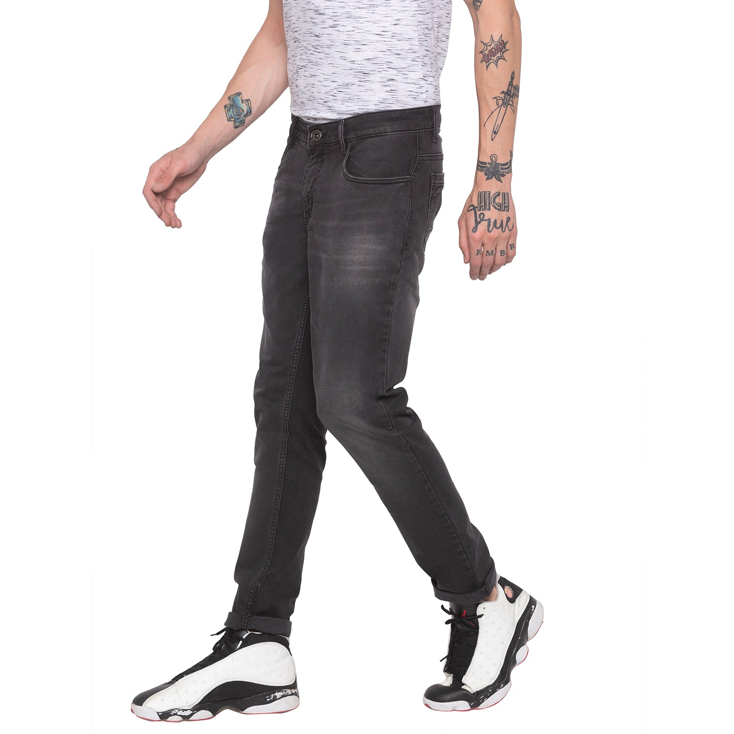 Faded Slim Fit Grey Denims-2