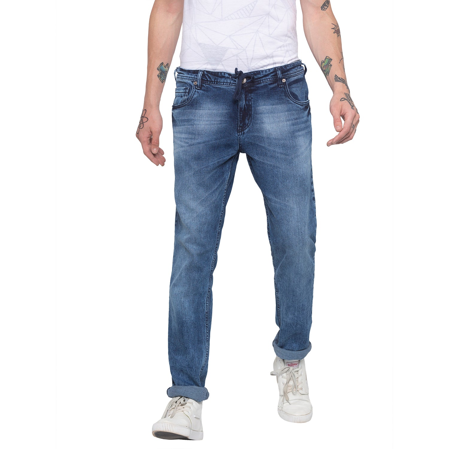 Faded Slim Fit Blue Denims-1