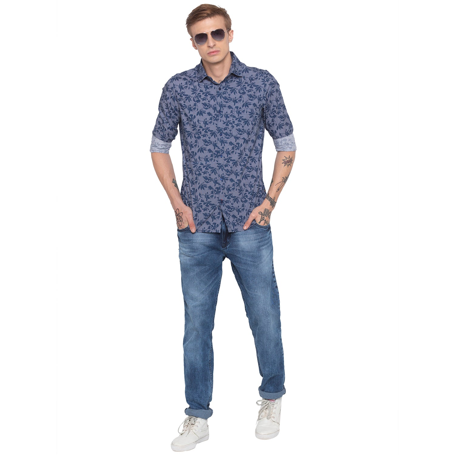 Faded Slim Fit Blue Denims-4