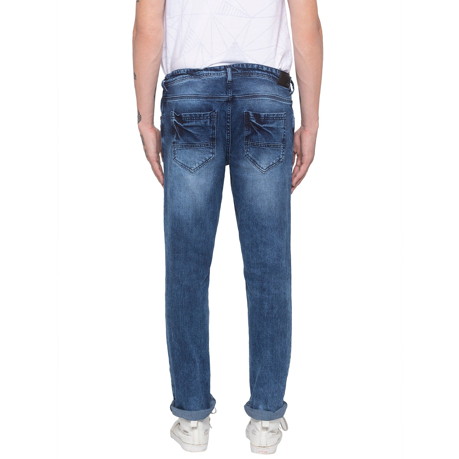 Faded Slim Fit Blue Denims-3