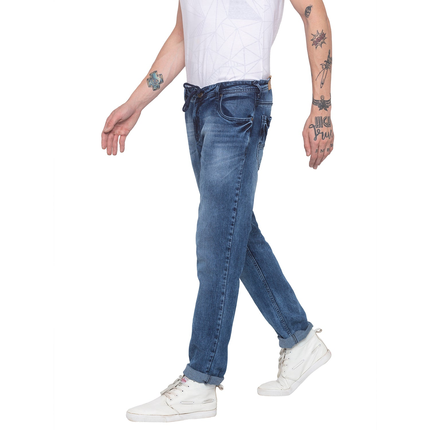 Faded Slim Fit Blue Denims-2